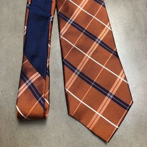 Tommy Hilfiger blue and orange silk tie